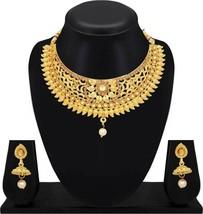 Bollywood Indian Wedding Choker Hasdi Gold Plated Ethnic Jewelry Necklac... - $19.79