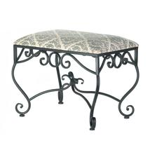 #10017111   *Black Metal Dark Damask Pattern Manor Stool* - $123.82