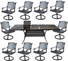 Nassau 11 piece cast aluminum dining set Santa Clara rectangular extendable tabl image 2