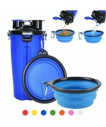 Portable Dog Food Water Bottle 2 In 1 With Foldable 7 Color Food Drinkin... - $18.99+