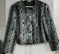 Silvio Tossi Black/Gray Animal Print Leather Jacket XL 0015 - $113.06