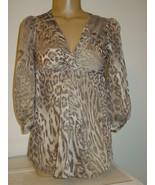 New York & Company Tan Beige Leopard Print Tunic Top Twist Front-XS-NWT-... - $11.79