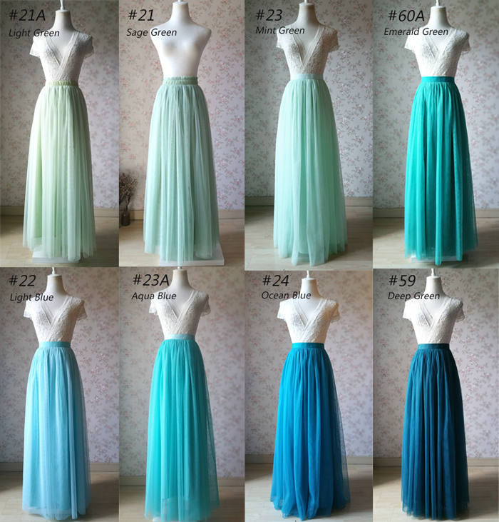 AQUA Blue Full Length Bridesmaid Tulle Skirt Maxi Length Summer Wedding Outfits