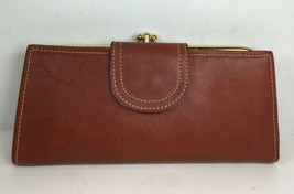 Brown Leather Double Kiss Lock Checkbook Wallet - Distressed - $18.42