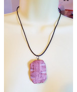 brown marble gemstone necklace stone pendant co... - $6.99