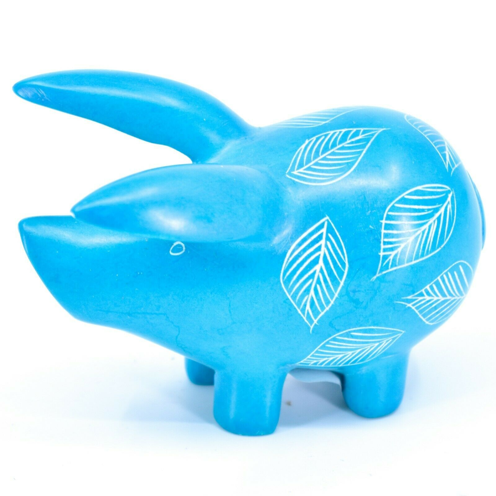 Tabaka Chigware Hand Carved Kisii Soapstone Light Blue Pig Figure Made in Kenya