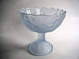 Blue Satin Glass Compote Comport Candy Dish Scalloped Edge Cherry Pattern - $14.80