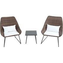 Outdoor Seating Furniture Three Pieces Wicker Patio Conversation Set Bro... - $298.85