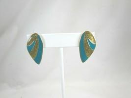 Vintage Aqua Enamel Goldtone Gold Tone Pierced Earrings 50011 - $12.86