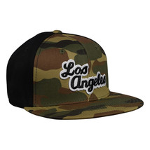 Camo Los Angeles Hat by LET'S BE IRIE - Woodland Camo and Black - £15.82 GBP