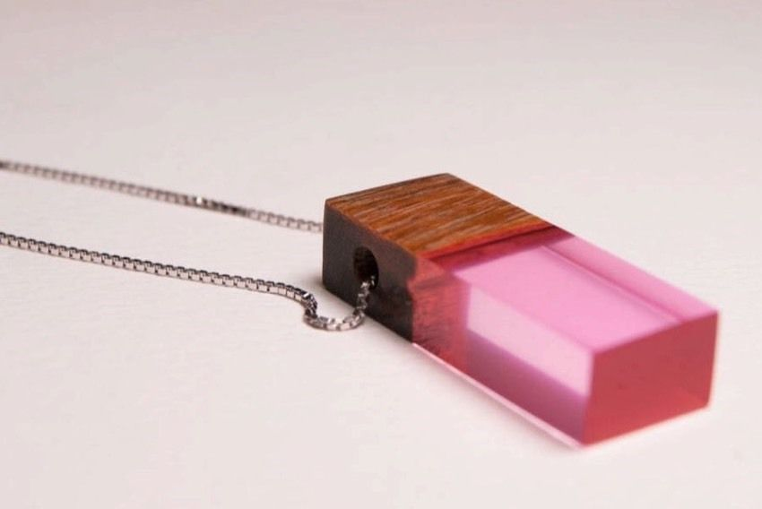 Primary image for Custom Mahogany Wood Pink Resin Pendant Sterling Chain Gift Boxed Mother's Day