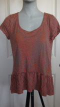 Splendid L Coral/Navy Striped Hi Low Peplum Short Sleeve Jersey Knit Top N1 - $8.60