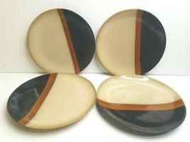 "4 Sango Tempo Black 5170 11 1/4"" Beige Brown Stoneware Replacement Dinne... - $39.27"