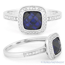 2.44ct Round Cut Blue Lab Sapphire & Diamond 14k White Gold Halo Engagem... - €481,35 EUR