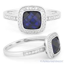 2.44ct Round Cut Blue Lab Sapphire & Diamond 14k White Gold Halo Engagem... - £402.61 GBP