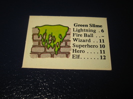 1980 TSR D&D: Dungeon Board Game Piece: Monster 5th Level - Green Slime - $1.00