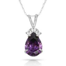 3.70 CTW Halo Amethyst Pear Shape 4 Stone Gemstone Pendant & Necklace14K W Gold - $153.45