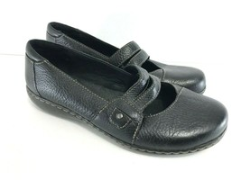 Clarks Bendables Women Black Leather Mary Jane Flats Shoe 8.5 - $24.75