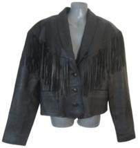 Pioneer Wear womens jacket vintage leather fringed black sz 16 genuine lamb - $64.67