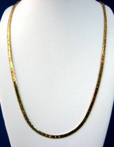 Necklace 1970s Sterling Silver Gold Overlay Vermeil Heavy Chain Necklace Italy F - $88.00
