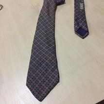 Herme Paris Red Gold & Blue Chains Silk Tie, 7181 UA, MI France 100% SOIE - $34.65