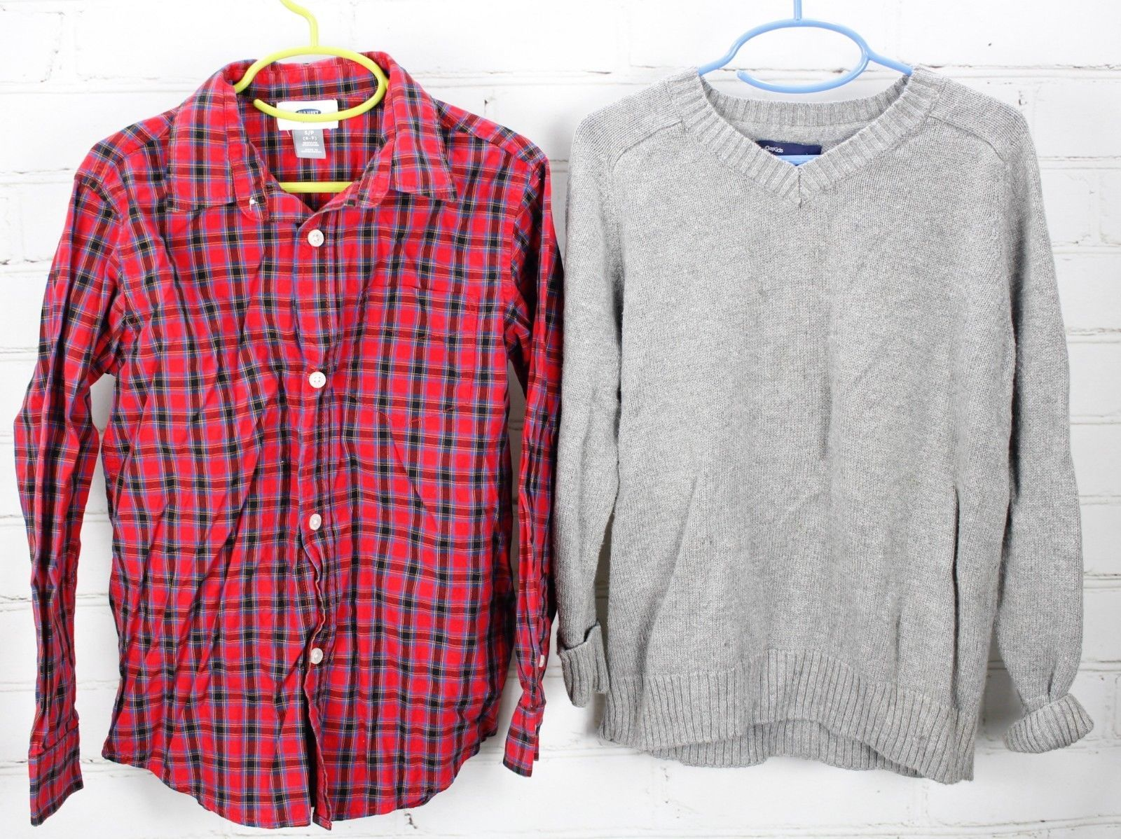 Old Navy Plaid Button Down Shirt + Gap Kids Sweater Boys Size S 6-7 Holiday Set