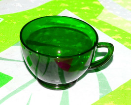 Vintage Forest Green Glass Anchor Hocking cups drinking glasses mugs - $5.93