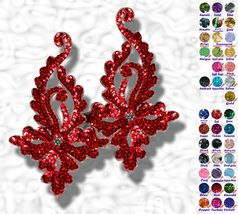 pair appliques sequins applikationen pailletten sew on embroidery handmade ap95 - $9.99