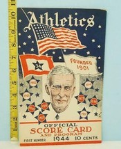 1944 Philadelphia Athletics Score Card v Browns War Issue Scored - $54.45