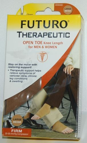 Futuro 005005 Open Toe Knee Length Stocking Firm Compression Large Beige