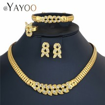 AYAYOO African Necklace Sets For Women Gold Color Imitation Crystal Bridal Jewel - $11.31