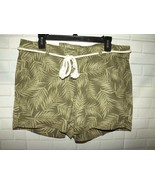 Sonoma Misses Belted Shorts Sz 14 Mid Rise Stretch Linen Rayon Green Pal... - $15.45