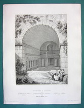 ARCHITECTURE (2) PRINTS 1850 - ITALY Sanctuary Nymphaeum at Albano - $13.49