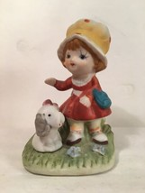 Homco Girl With Dog Figurine Porcelain Puppy Collectible  - $9.89