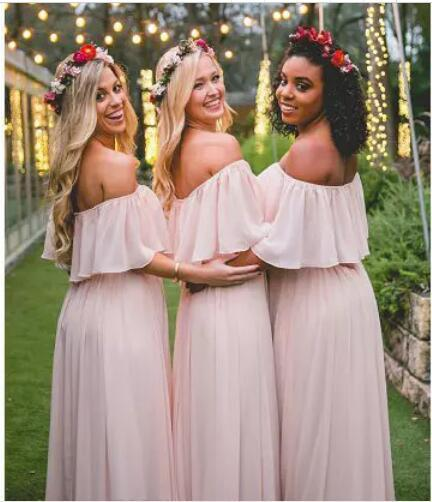 New Arrival Simple Light Pink Long Bridesmaid Dress A Line Maid Of Honor Dresses
