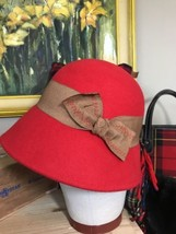 Peter Grimm Women's Red Florence Wool Bucket Hat NWT Tie - $30.30 CAD