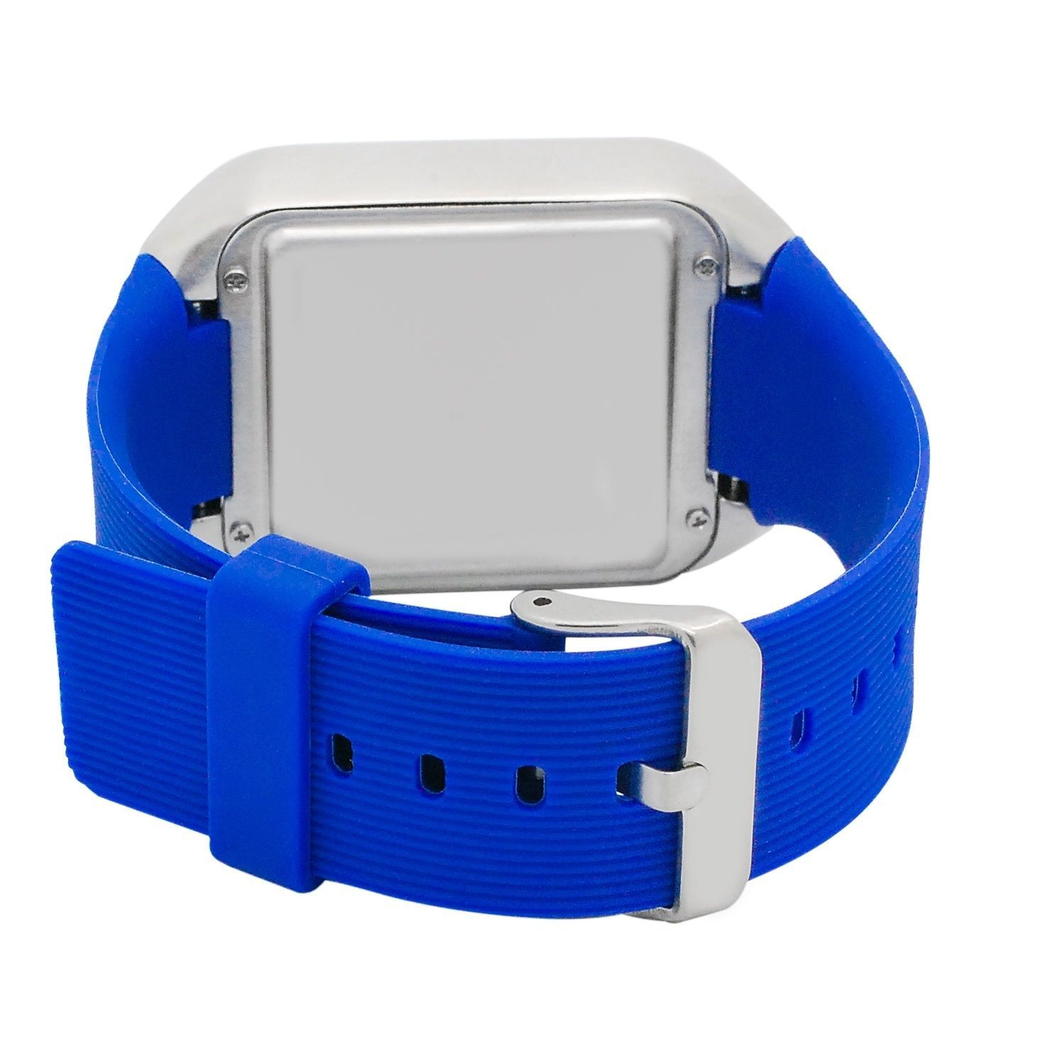 Techno Pave Digital Touch Screen Watch Silver Finish w/ Blue Sport Band Bling