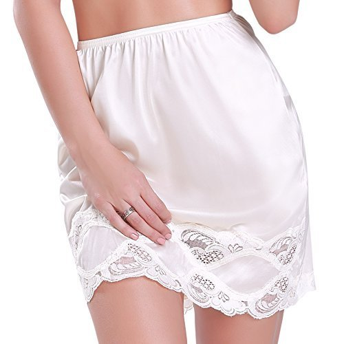 Women's Comfortable Antistatic Half Slip Skirt with Lace Edge comes in 18 or 24