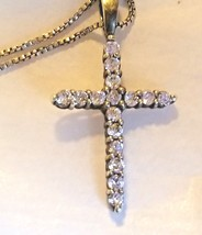 """Sterling Silver Crystals Cross 18 """" Box Chain Channeled Clear Stone 925 ... - $19.79"""