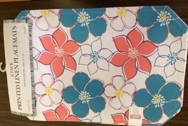 """Set Of 3 Linen Fabric Placemats 12"""" X 18"""", Colorful Flowers By Bh - $12.86"""