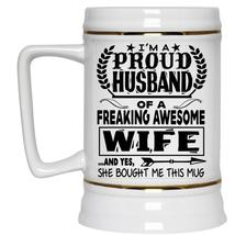 Marry Beer Stein 22oz, I'm A Proud Husband Of An Awesome Wife Beer Mug - $26.99