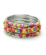 Set of Four Vintage Bright Colorful Pastel Stone Chip Seed Bead Bangle Bracelets - $13.86