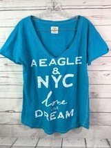 "AMERICAN EAGLE SHORT SLV T-SHIRT ""NYC LOVE LIVE DREAM"" SZ L V Neck - $193,15 MXN"
