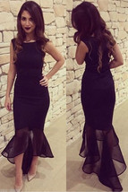 Lovely Black Tulle Fishtail Long Mermaid Evening Party Dress Size 12 14 New - $33.55