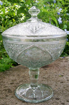 "Antique Indiana Garden Pink Compote/Comport #167 Covered EAPG 9""H Clear - $50.00"
