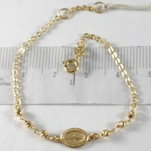 18K YELLOW GOLD BRACELET WITH MIRACULOUS MEDAL, BALLS, MADE IN ITALY, 5.9 INCHES image 1