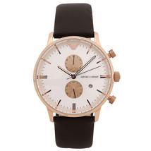 Emporio Armani AR0398 Brown Leather White Dial Chronograph Men's Watch - $149.50