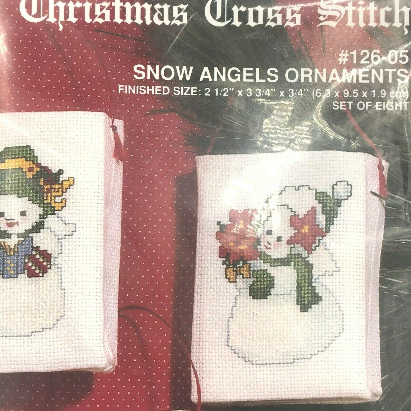 Janlynn Christmas Cross Stitch Snow Angels Set 8 Ornaments Kit 126-05 New AR