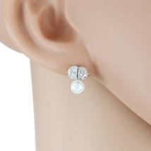 UE- Striking Silver Tone Faux Pearl & Swarovski Style Crystal Designer Earrings  - $18.99