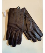 Women purple Eggplant LEATHER GLOVES wave cuff Sz L/XL lined polyester f... - $18.95